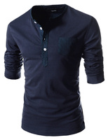 Free Shipping 2014 spring long-sleeve slim solid color round neck T-shirt hot-selling t-shirt 5511  L-0000