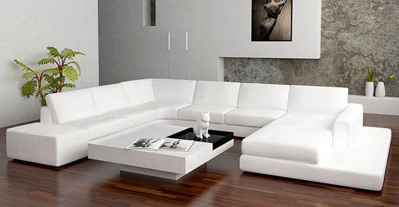 Moderne canap en cuir blanc avec tabouret en cuir - Canape en forme de u ...