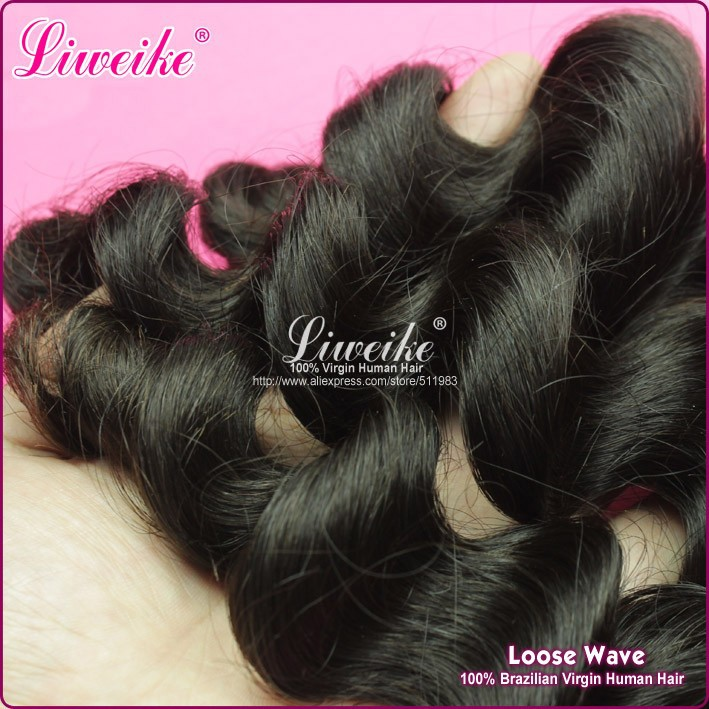 wholesale Brazilian virgin human hair loose wave hair extension 1pc/lot 1B , DHL free shipping