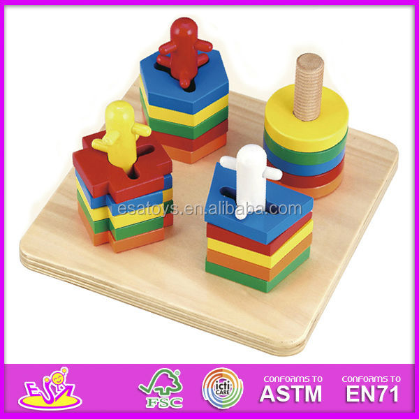 Kids Stacking Toys : New kids wooden toy stacking and shape puzzle