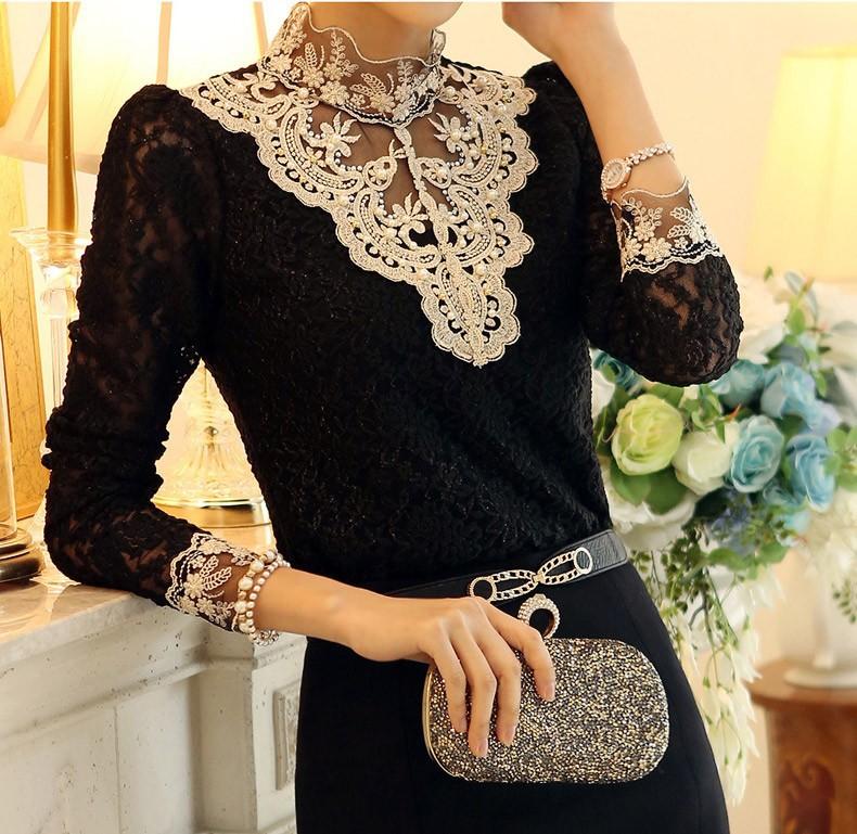 Кружевная Блузка Черная Купить В