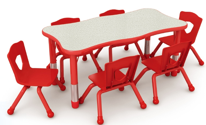 Beautiful Wave Preschool Dining Table And Chairsplastic
