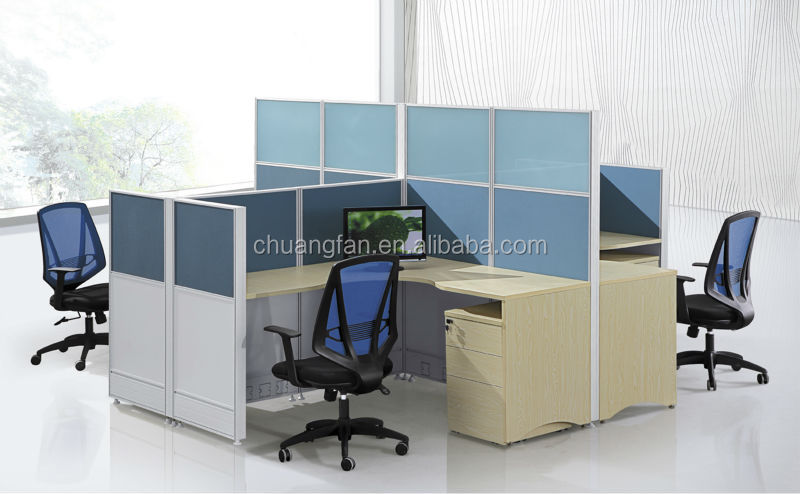 cf cadre en aluminium de bureau modulaire poste de travail informatique mobilier pour 4 places. Black Bedroom Furniture Sets. Home Design Ideas