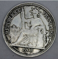 Товары для ручных поделок 1908 Ancient Antique silver coin 5 /1908 REPUBLIQUE FRANCAISE rare animals great collection
