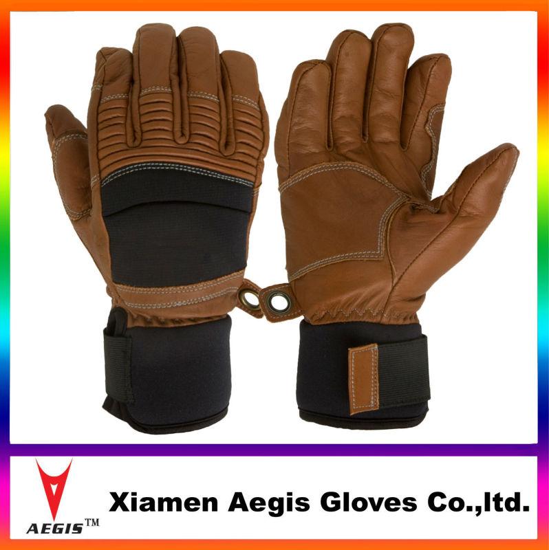 bruin lederen ski handschoenen, heren bruin leren handschoenen, warme winter ski handschoenen