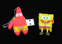 100% реальные милый мультфильм Губка Боб модели пластиковых 64 ГБ 128 ГБ 2.0 usb памяти флэш-памяти перо drive1gb 4 ГБ 8 ГБ 16 ГБ 32 ГБ мальчик подарок