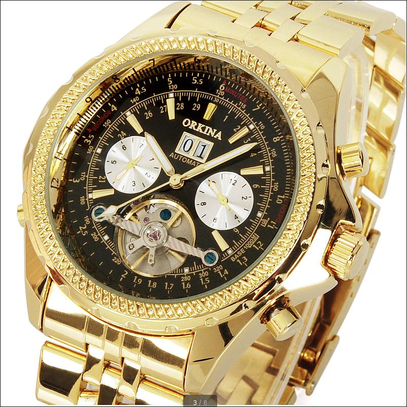 Человек Продажи Новые Часы Blackcat Марка Нержавеющей Стали Мужчины 2016 Мода Золотой День Дата Месяц Автоматические Механические мужские Наручные Часы