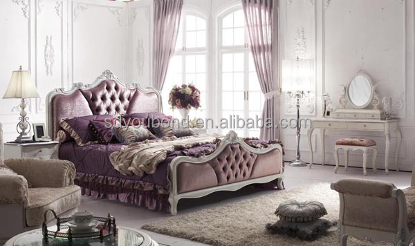 YB09 Italy Style Luxury Solid Wood Royal Classic White Bedroom Furniture