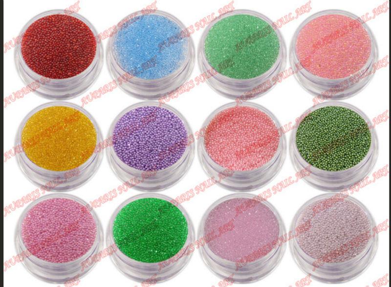 08 1mm Fashion Caviar Nail Art Set New 50 Colors Plastic Beads