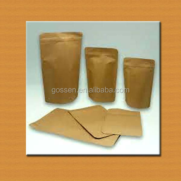 foil lined stand up kraft paper tea bags with zipper