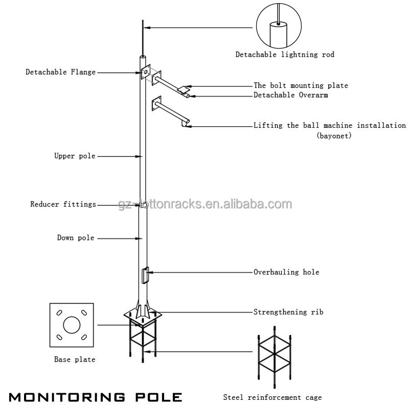 Light Poles Drawing 7.5m Street Light Pole Head