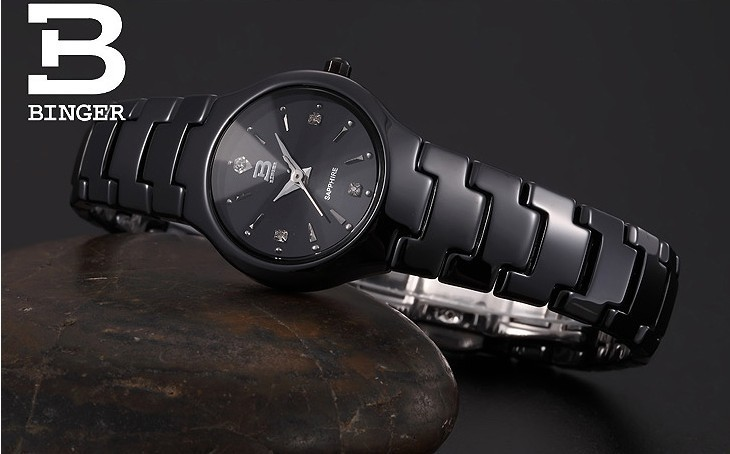 Бренд Бингер роскошные вольфрам стали случайные кварцевые часы платье женщины водонепроницаемый dive watch designer silver наручные часы черный Циферблат
