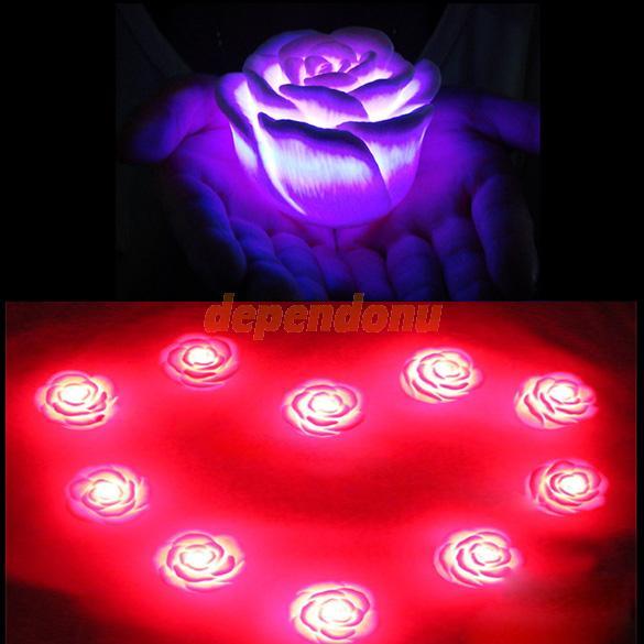 הוביל רומנטי רוז צבע הפרח השתנה אור מנורת F