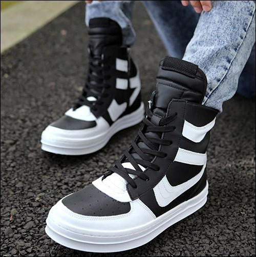 Free Shipping 2015 new fashion rick owen leather high-top male casual shoes side zipper rivet men\`s ankle boots flats Punk shoes-1 (1)