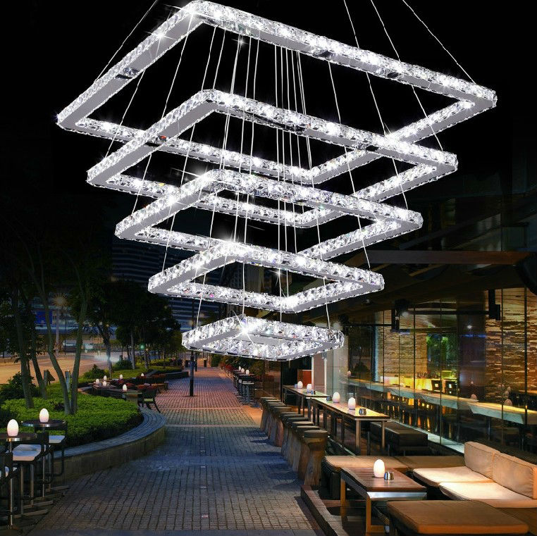 Square modern crystal chandelier for living room dining room buy modern stainless steel crystal led chandelier 750 1150 1890 3500 1g aloadofball Images