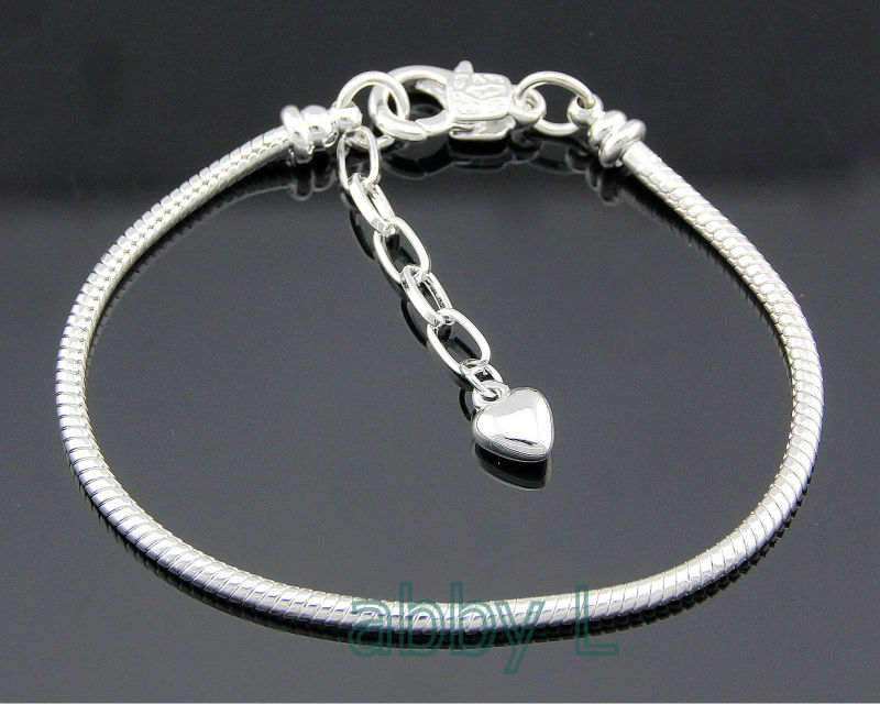 5pcs Snake Chain Lobster Clasp Silver Charm Bracelets Fit European Beads L13