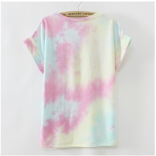 Женская футболка new Gradient colors women graffiti cotton t shirt good quality summer short sleeve casual t-shirt