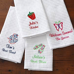 Pure White 100 Cotton Waffle Kitchen Tea Towel With Embroidery Buy