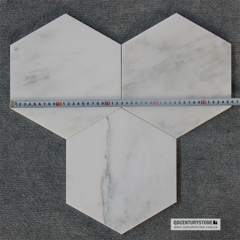 New Floor Tile Design Inch Hexagon Mosaic White Carrara Marble - 10 inch hexagon tile