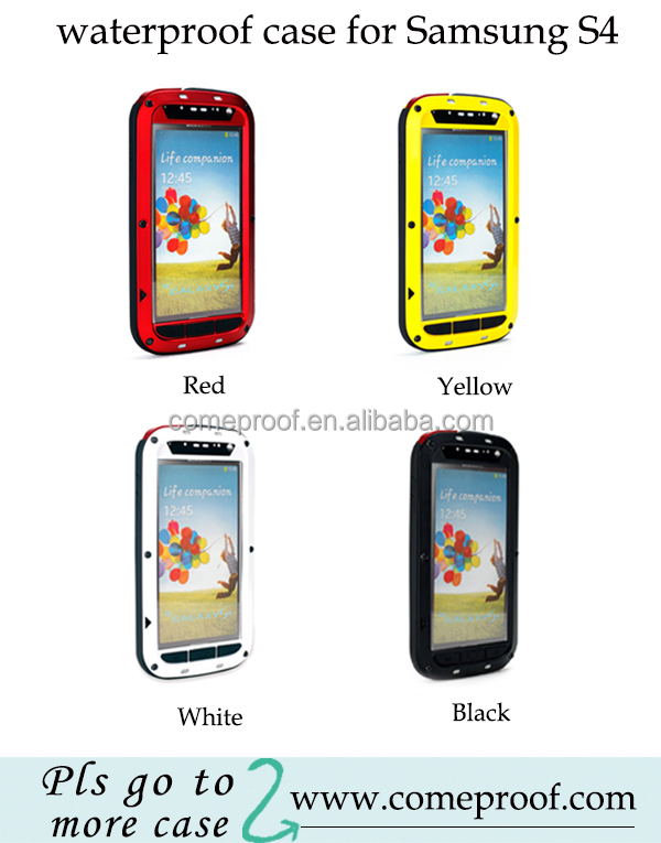 Aluminum Metal Case For Galaxy S4 mini Waterproof Shockproof Gorilla Glass case for Samsung s4 mini