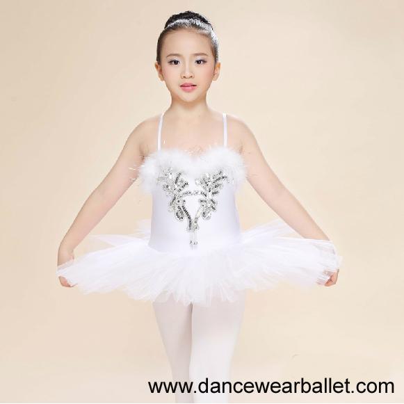 Children Fairy Princess Swan Lake Feather Sequin Dance Ballet Costumes Tutu