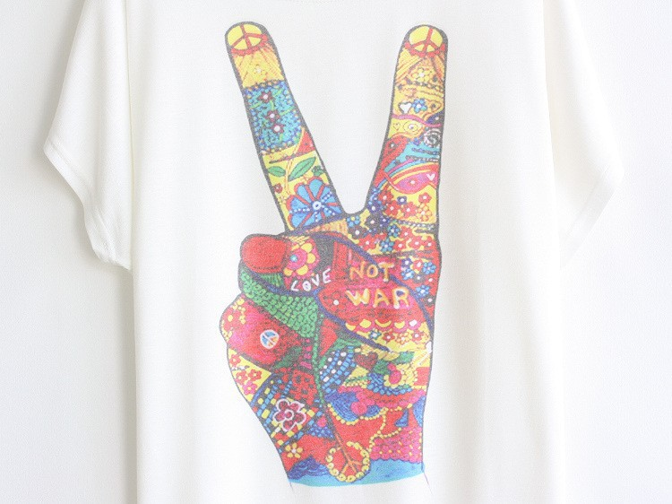 Женская футболка Colorful Peace T-Shirt Summer Women Shirt