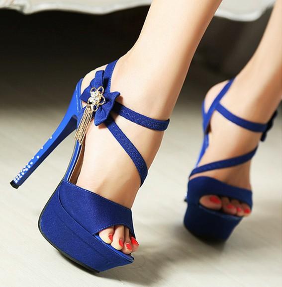 Blue Platform High Heels | Tsaa Heel