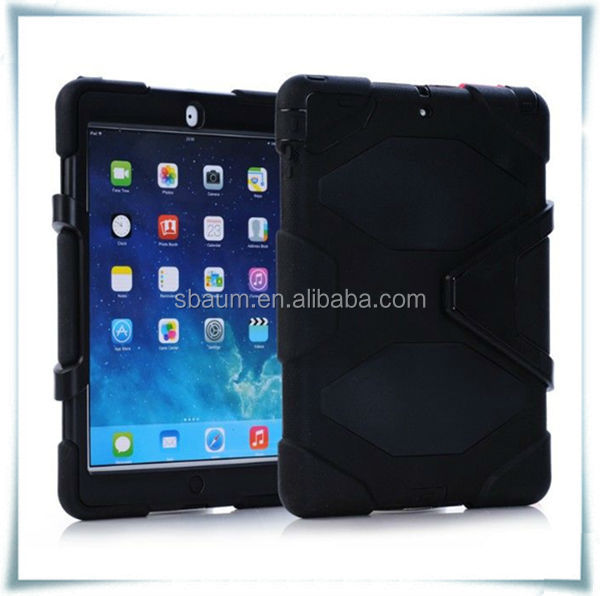 Silicone Heavy Duty military Hybrid rugged Belt clip Holster kickstand shockproof waterproof case For iPad 5 air