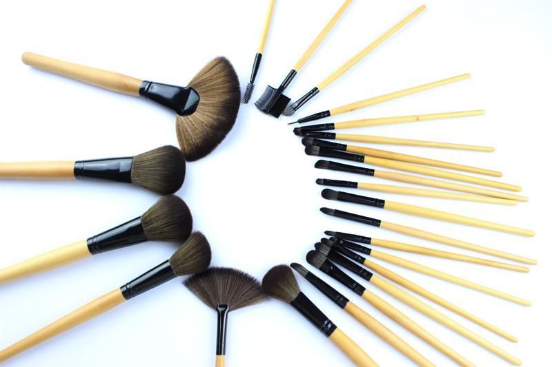 24pcs/мешок профессиональный макияж кисти набор инструментов макияж комплект туалетных шерсти бренда составляют кисти