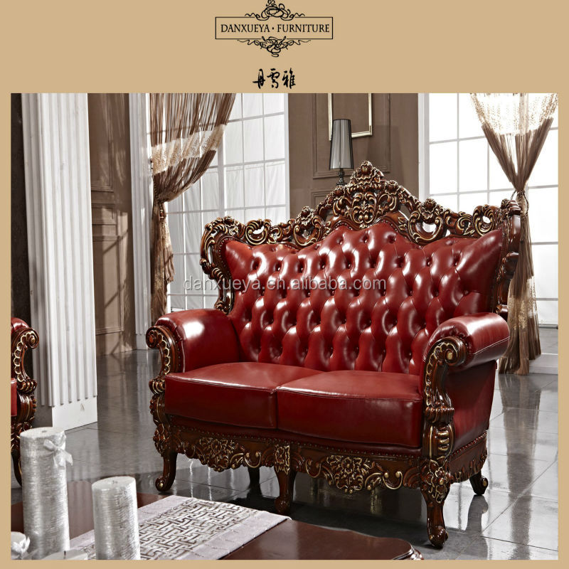Red Antique Elegant French Style Living Room Luxury Royal Furniture Wood Carved Leather Sofa Set