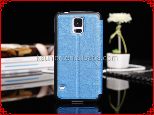 Factory price! cheap phone leather case with s view window for Samsung Galaxy S5 case