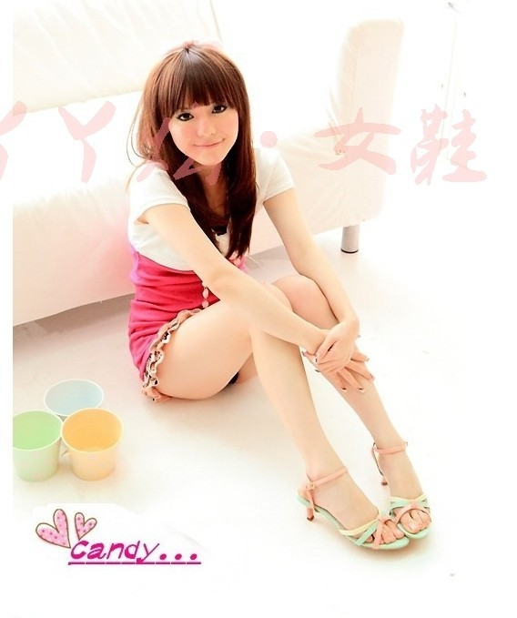 Женские сандалии new thin heel high heels women sandal color block decoration sandals