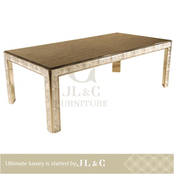 2014 nouveau cristal en bois table manger luxe table - Model de table a manger en bois ...