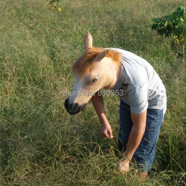 Wearing a Horse Head Mask