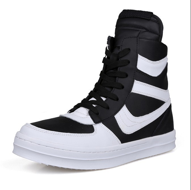 Free Shipping 2015 new fashion rick owen leather high-top male casual shoes side zipper rivet men\`s ankle boots flats Punk shoes-1 (7)