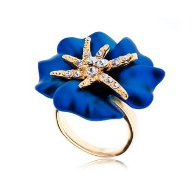 18 k золотые пластины великолепный цветок обручальные кольца / обещают очарование украшений с элементами подлинной swarovski кольца ювелирные изделия