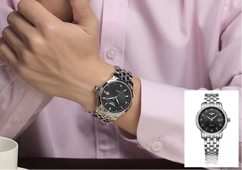 Бингер Спорт Белое Золото Классический Круглый 38 мм Большой Циферблат Стали ремень Слово Автоматический Предел Издание Белл Часы с Логотипом Запястье часы