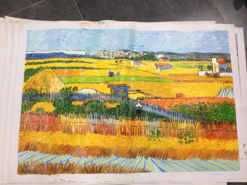 Peint la main impressionniste paysage toile peinture r colte van gogh peinture l 39 huile - Peinture a l huile van gogh ...