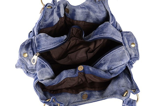 BWA089 New 2014 Jeans Fabric Bags Rivet Sequined Bag Canvas Casual