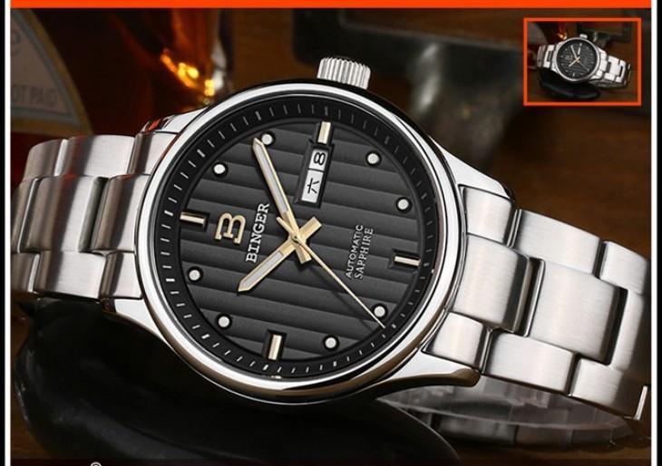 100% Оригинал Бингер Высокое Качество Спортивные Часы Черный Стали Кварцевые Наручные Часы 100 М Водонепроницаемые Часы Мужчины световой Аналоговые Часы