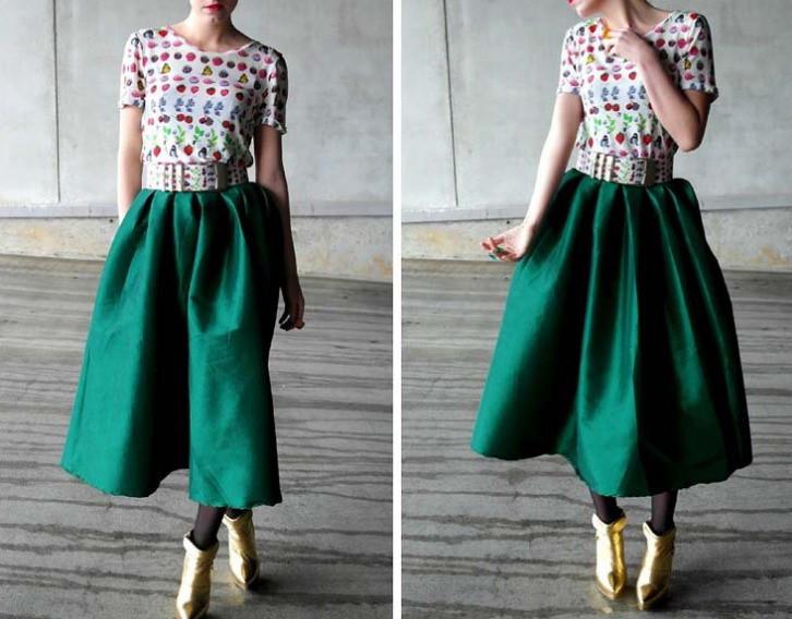 Длинная изумрудная юбка с чем носить