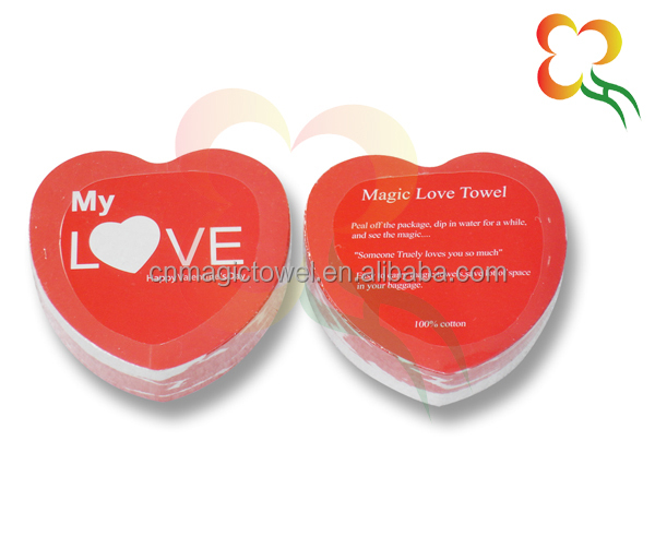 Valentine gift heart shape cotton compressed towel