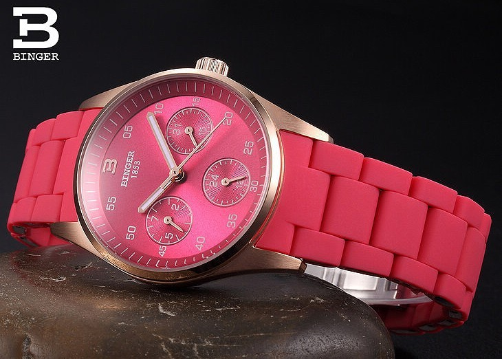 Летний Отдых Новое Прибытие Бингер Часы Бренд Популярным Стиль Подлинной Кварцевые Часы для Женщин Горячей Продажи Конфеты Розовый Наручные Часы Дата