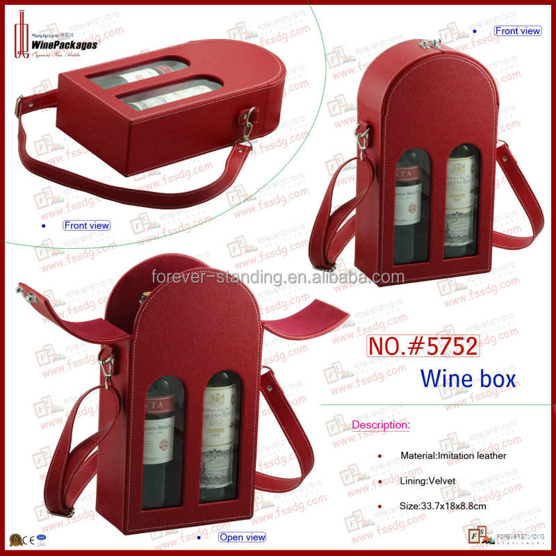 two bottles PU leather wine carrying case