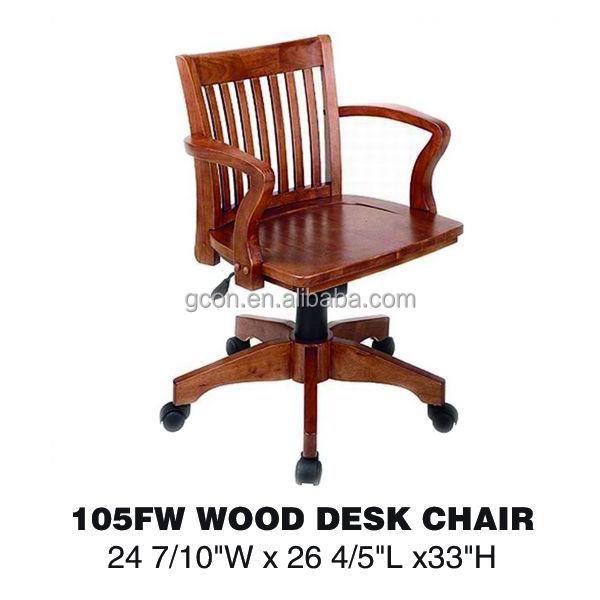 Sin brazos cl sica de alta la luz giratoria de madera for Sillas de escritorio de madera