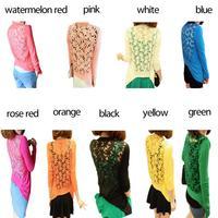 9 цветов Весна Женская одежда не может греться в дырочку кружево кардиган вязание свитер цветок рубашку e2681-30 #s5