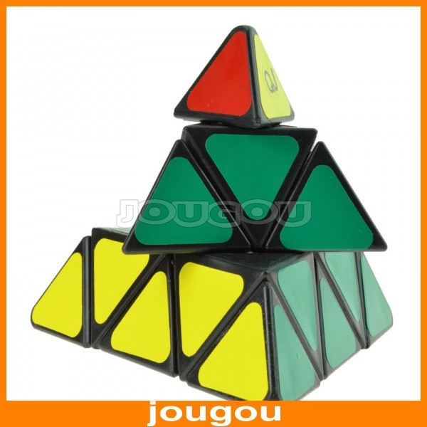 Неокубы, Кубики-Рубика Qj Pyramid Black-matrix SMD Triangle Shaped Magic Cube With Plastic Sheet Not Sticker For Child Puzzle Toys