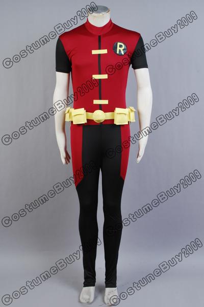 Adult Young Justice Robin Costume Uniform Black Cloak Jumpsuit Cosplay Cape