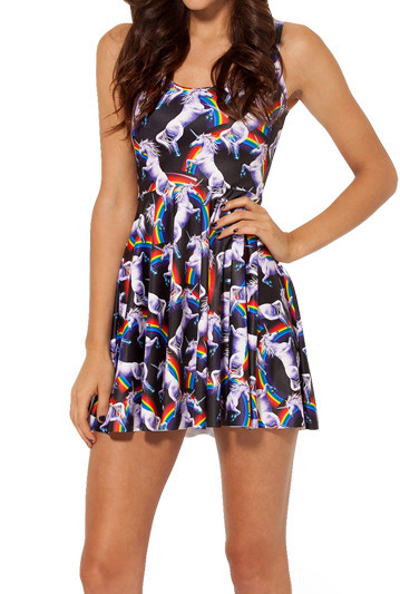 2015 New FASHION  Attack of the Unicorn Reversible Skater Dress Summer Dress