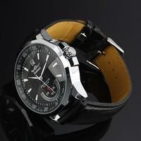 Мужская черная победитель ручной ветер механические часы Мужские наручные часы